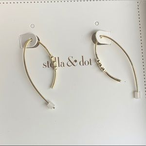 NIB Stella&Dot 'Ada' shiny silver wire earrings